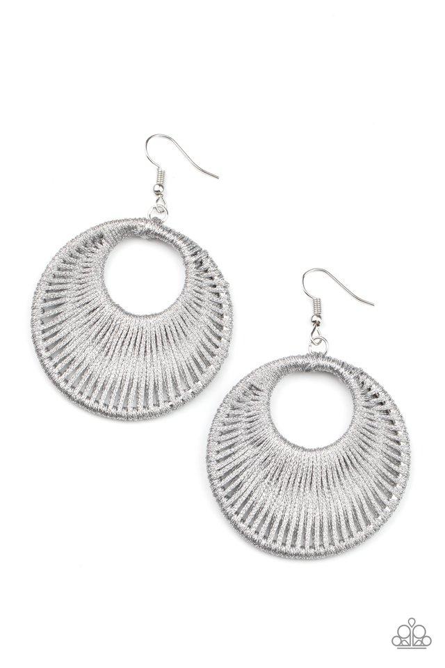 Weaving My Web - Silver - Paparazzi Earring Image