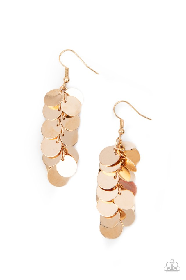 Hear Me Shimmer - Gold - Paparazzi Earring Image