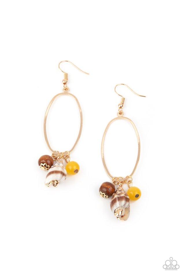 Golden Grotto - Yellow - Paparazzi Earring Image