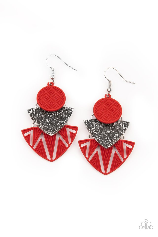​Jurassic Juxtaposition - Red - Paparazzi Earring Image
