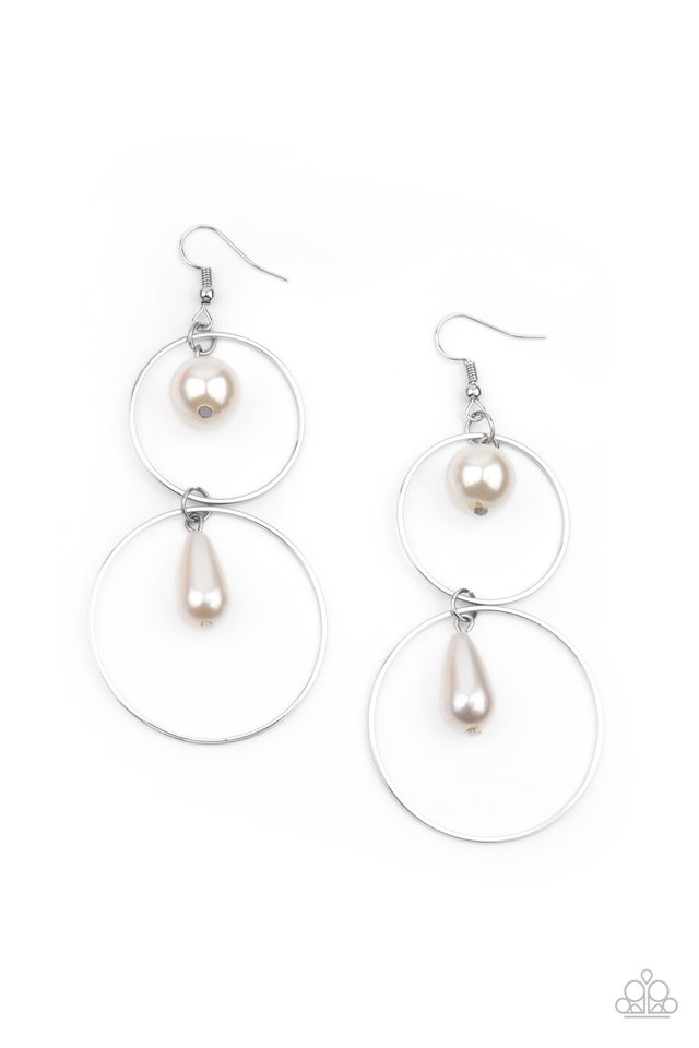 Cultured in Couture - White - Paparazzi Earring Image