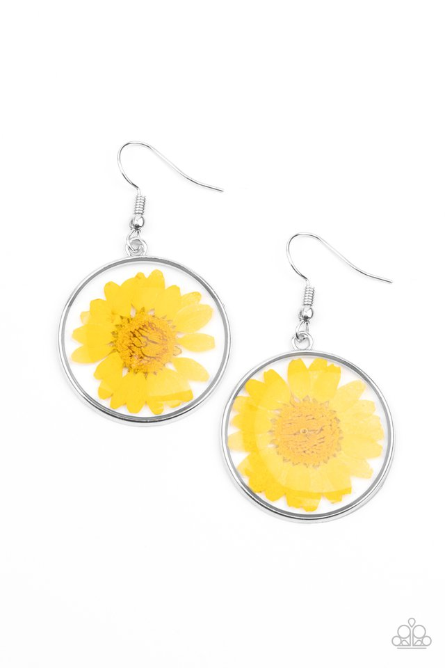 Forever Florals - Yellow - Paparazzi Earring Image