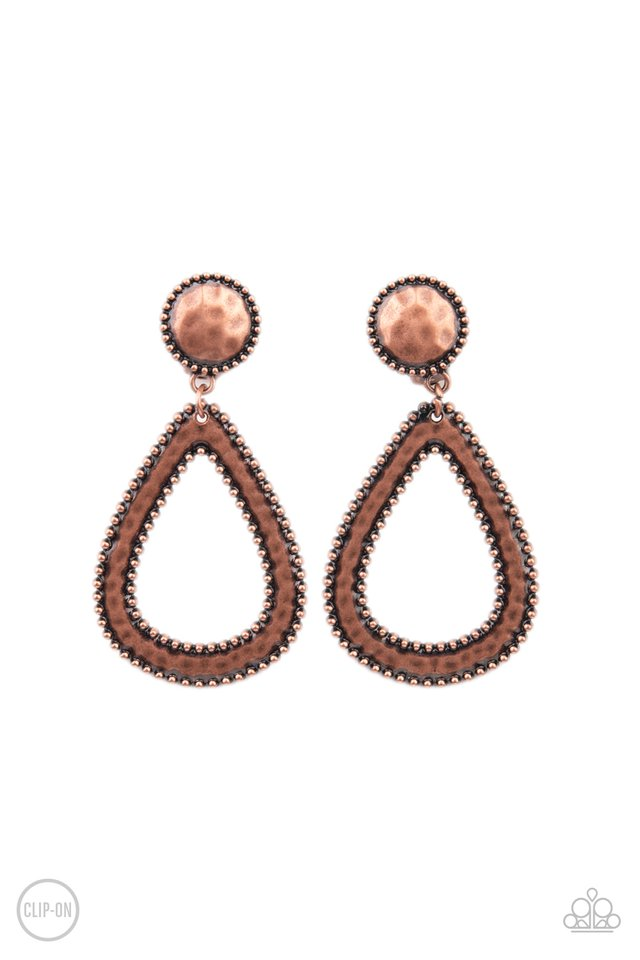 Beyond The Borders - Copper - Paparazzi Earring Image
