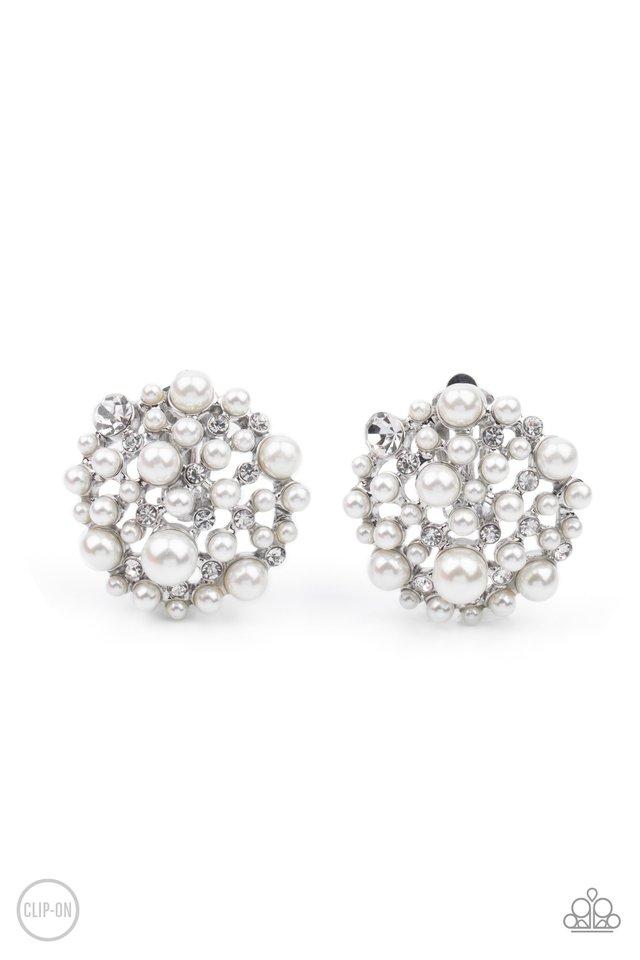 Head To Toe Twinkle - White - Paparazzi Earring Image