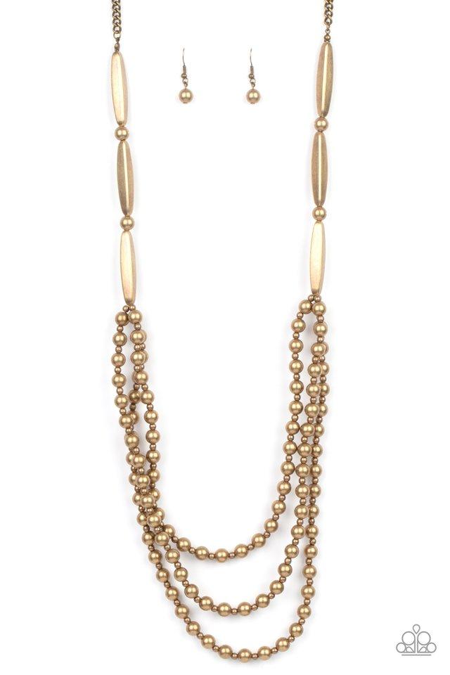 Beaded Beacon - Brass - Paparazzi Necklace Image