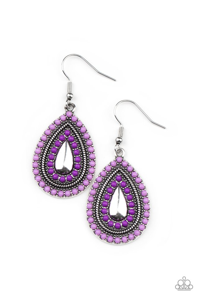 Beaded Bonanza - Purple - Paparazzi Earring Image