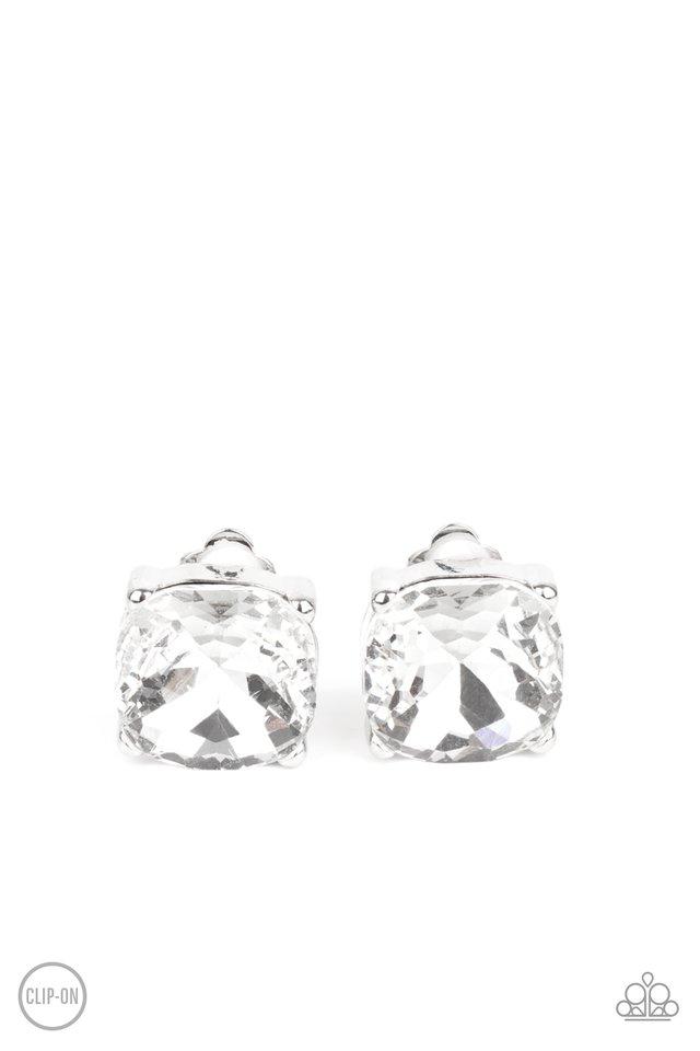Bombshell Brilliance - White - Paparazzi Earring Image