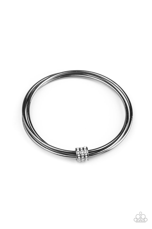 Roll Out The Rhinestones - Black - Paparazzi Bracelet Image