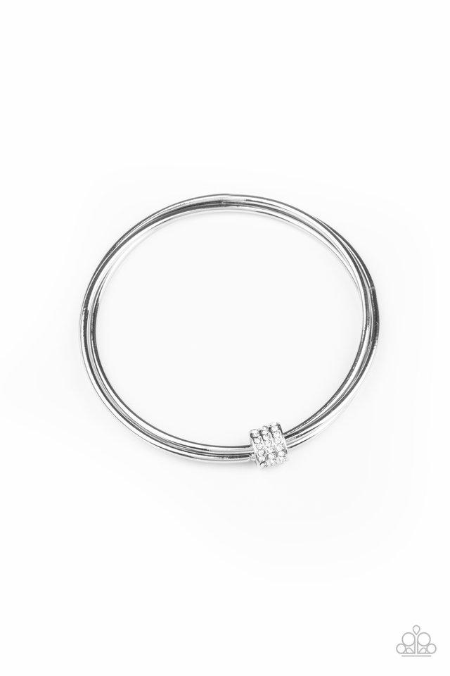 Roll Out The Rhinestones - White - Paparazzi Bracelet Image