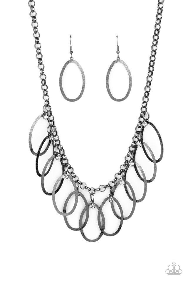 Double OVAL-time - Black - Paparazzi Necklace Image