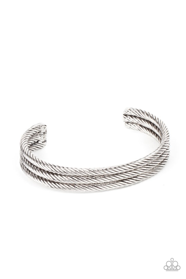 Armored Cable - Silver - Paparazzi Bracelet Image