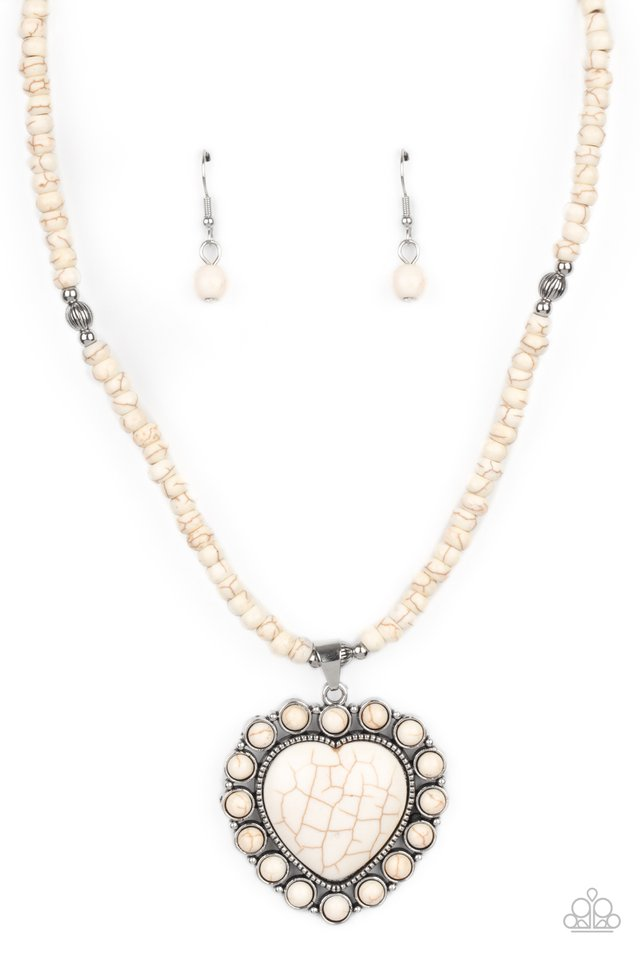 A Heart Of Stone - White - Paparazzi Necklace Image