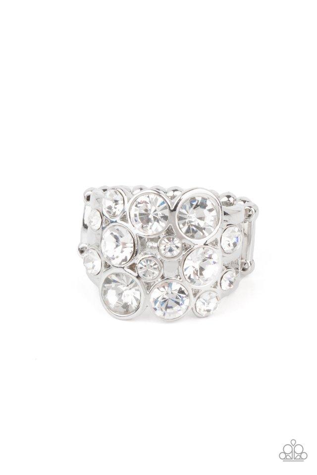 Bubbling Bravado - White - Paparazzi Ring Image