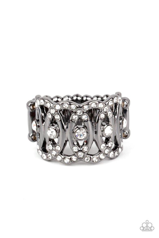 OVAL-Ruled - Black - Paparazzi Ring Image