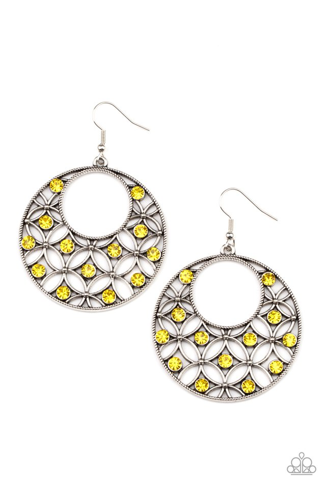 Garden Garnish - Yellow - Paparazzi Earring Image