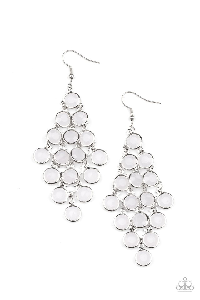 With All DEW Respect - White - Paparazzi Earring Image
