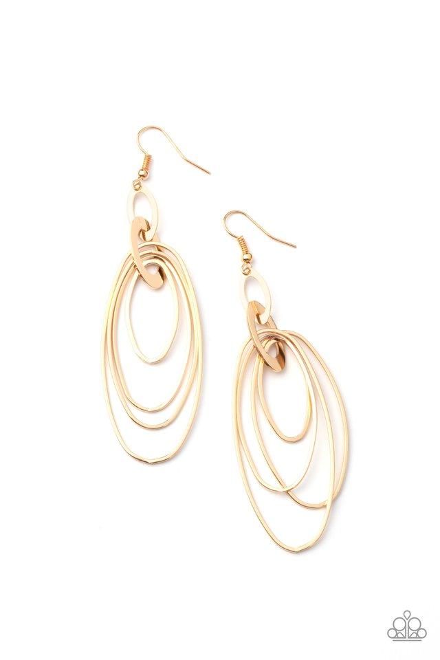 OVAL The Moon - Gold - Paparazzi Earring Image