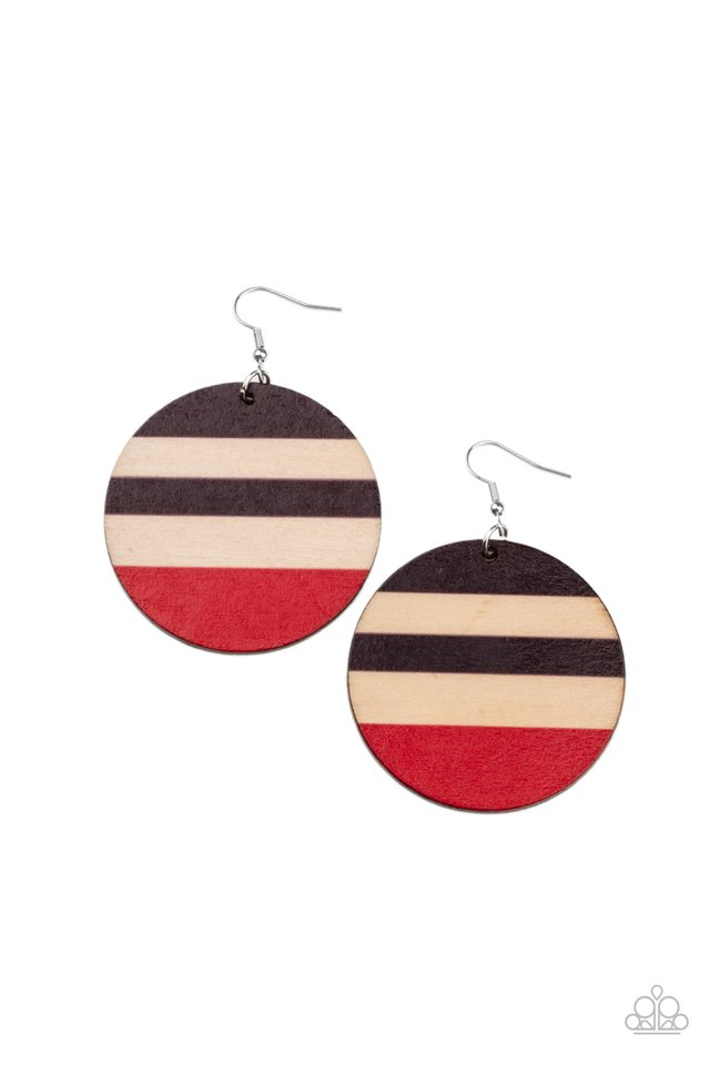 Yacht Party - Red - Paparazzi Earring Image