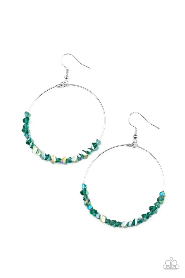 Glimmering Go-Getter - Green - Paparazzi Earring Image