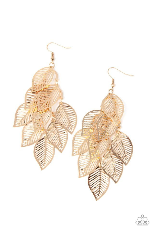 Limitlessly Leafy - Gold - Paparazzi Earring Image