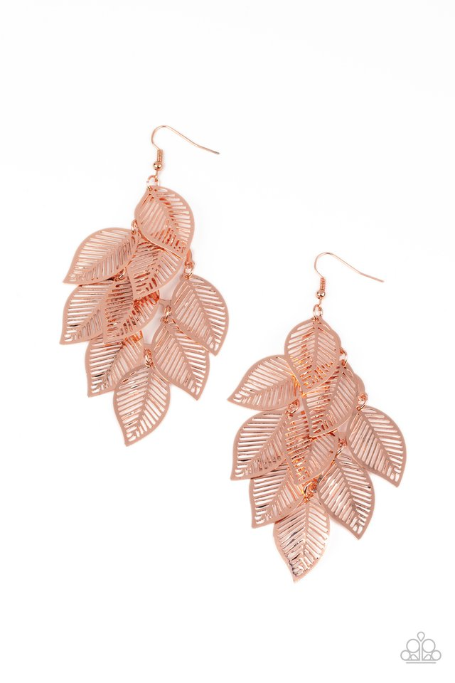 Limitlessly Leafy - Copper - Paparazzi Earring Image
