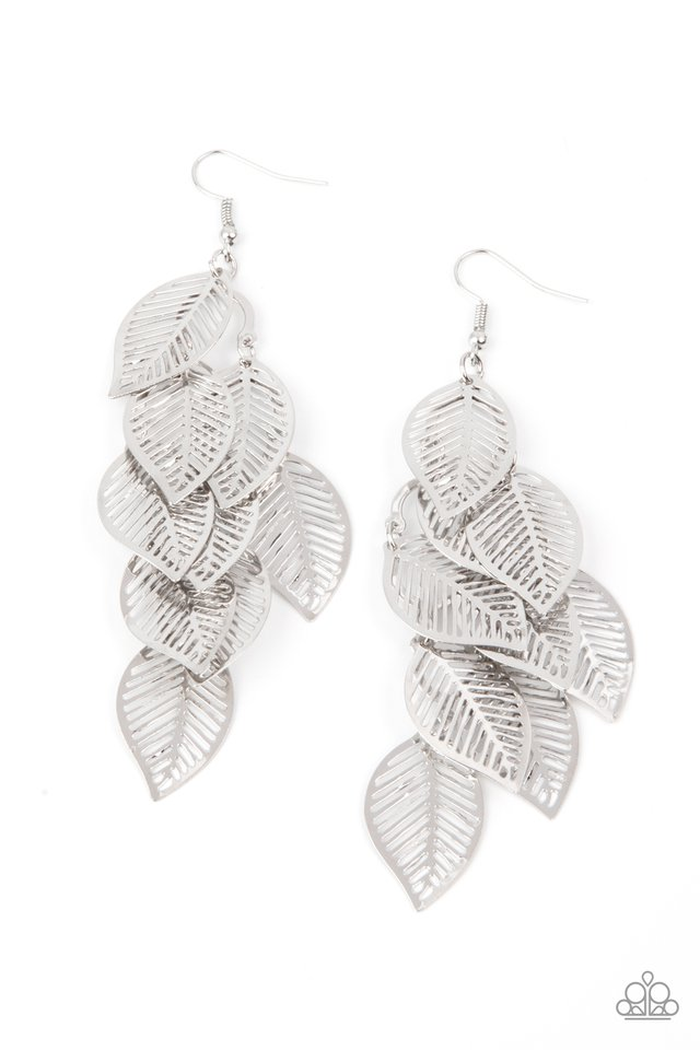 Limitlessly Leafy - Silver - Paparazzi Earring Image