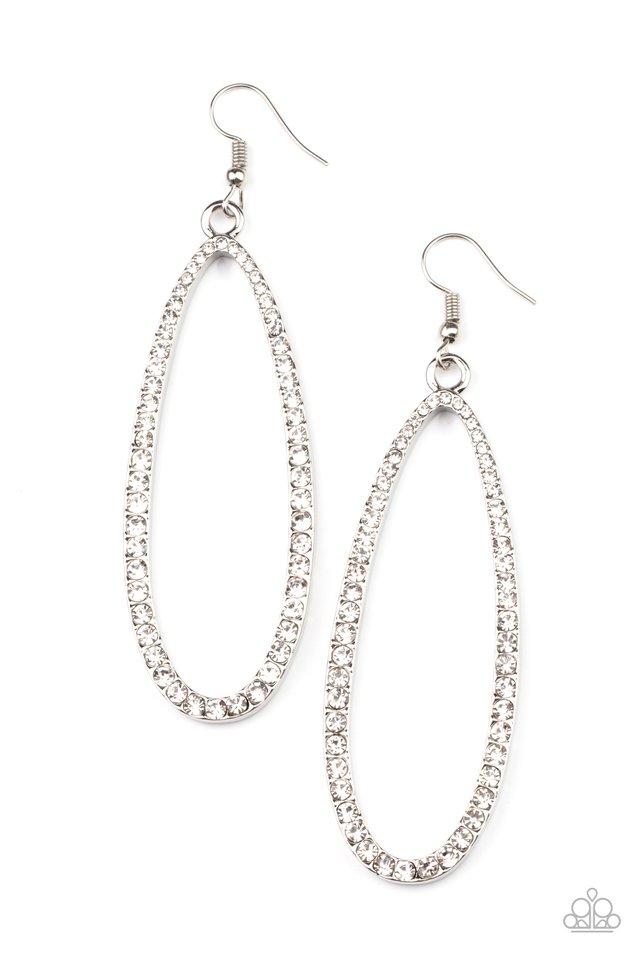 Dazzling Decorum - White - Paparazzi Earring Image