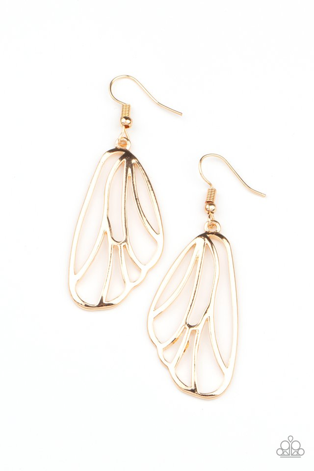 Turn Into A Butterfly - Gold - Paparazzi Earring Image