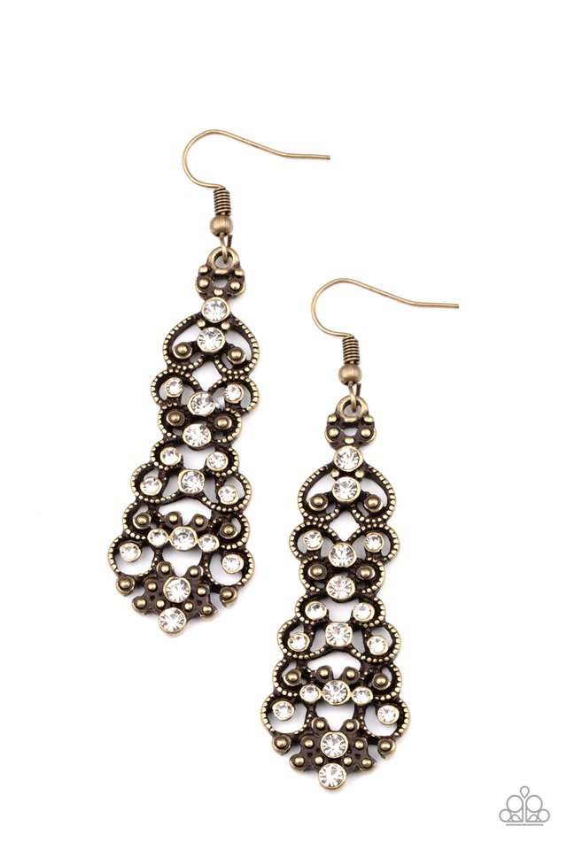 Diva Decorum - Brass - Paparazzi Earring Image