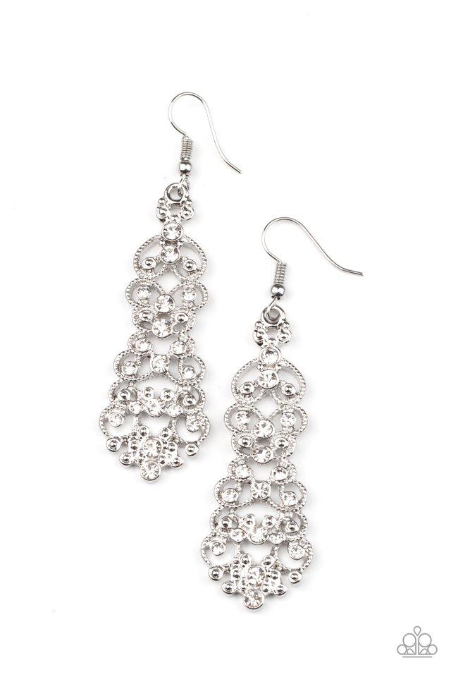 Diva Decorum - White - Paparazzi Earring Image