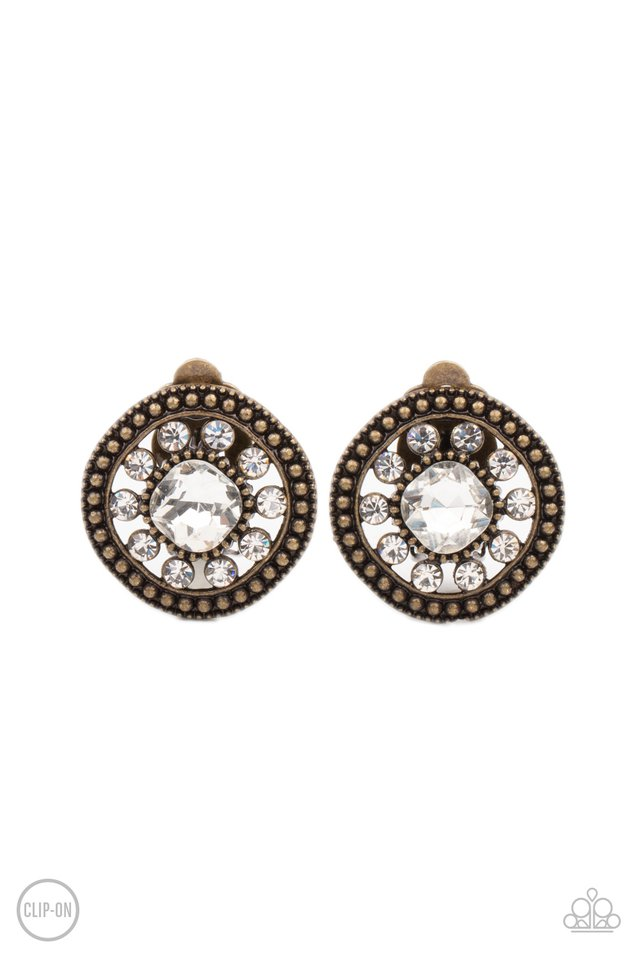 Dazzling Definition - Brass - Paparazzi Earring Image
