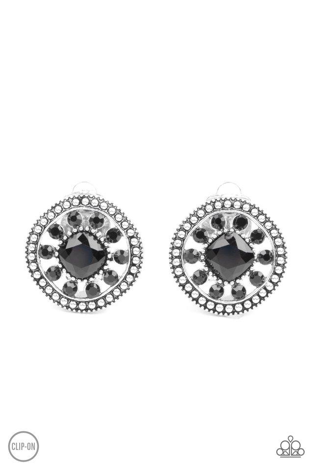 Dazzling Definition - Black - Paparazzi Earring Image