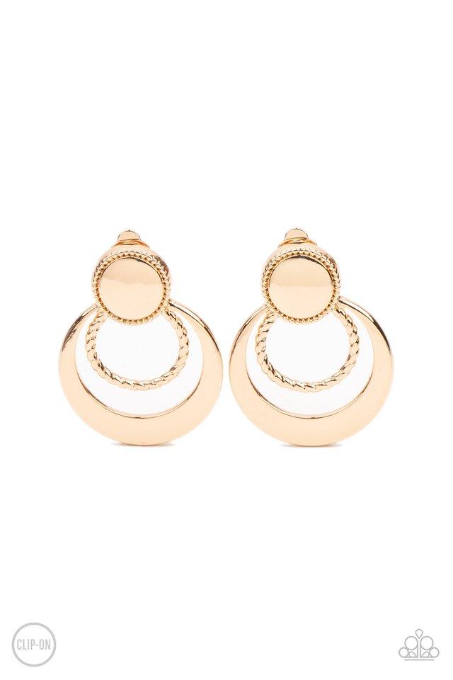 Refined Ruffles - Gold - Paparazzi Earring Image