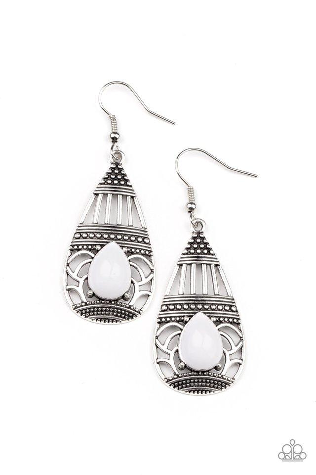 Eastern Essence - White - Paparazzi Earring Image