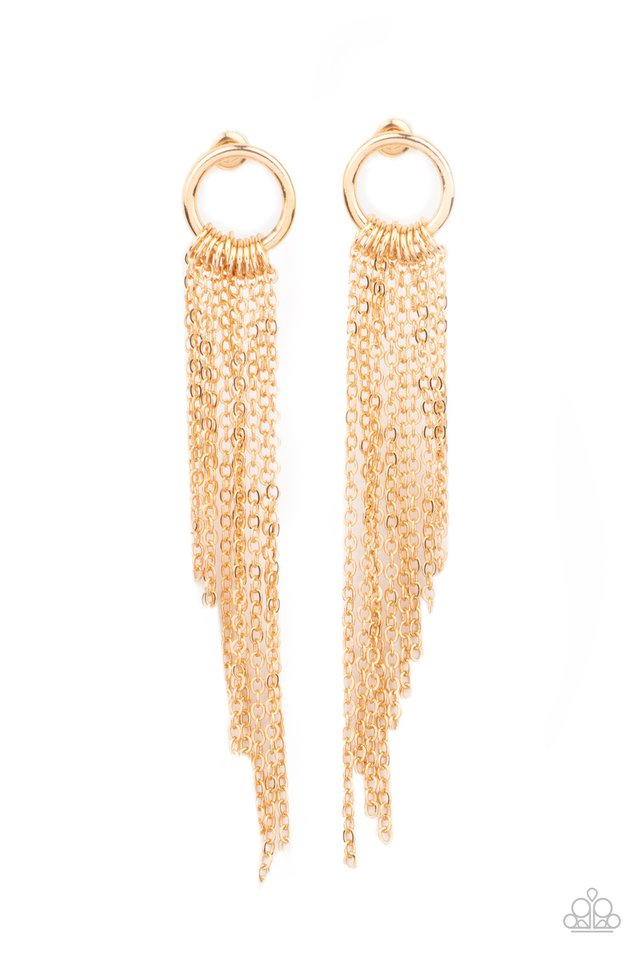 Divinely Dipping - Gold - Paparazzi Earring Image