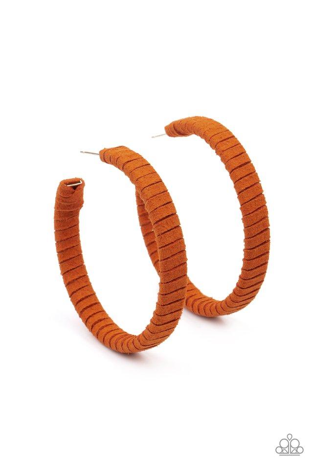 Suede Parade - Orange - Paparazzi Earring Image