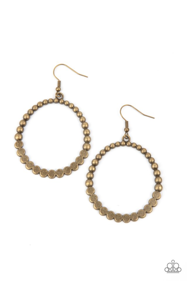 Rustic Society - Brass - Paparazzi Earring Image