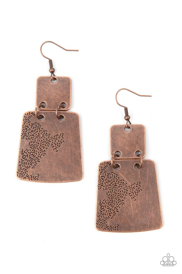 Tagging Along - Copper - Paparazzi Earring Image