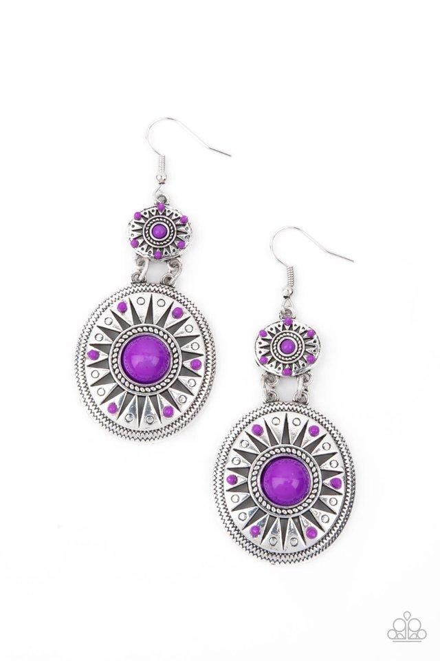 Temple of The Sun - Purple - Paparazzi Earring Image