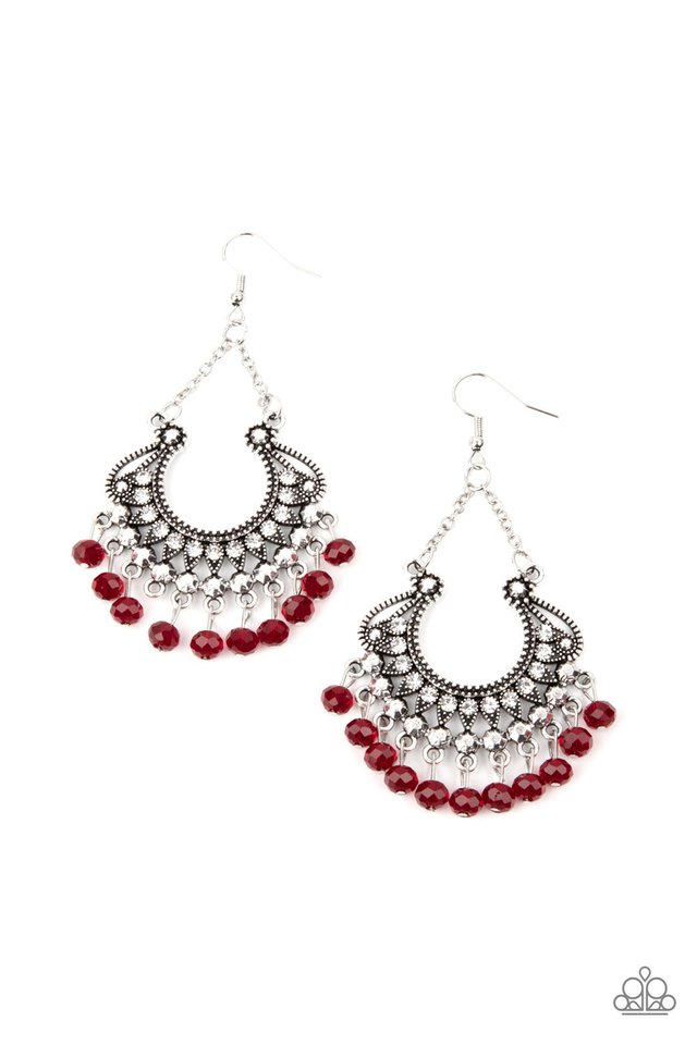 GLOW Down In Flames - Red - Paparazzi Earring Image