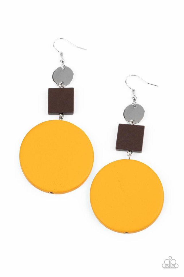 Modern Materials - Yellow - Paparazzi Earring Image