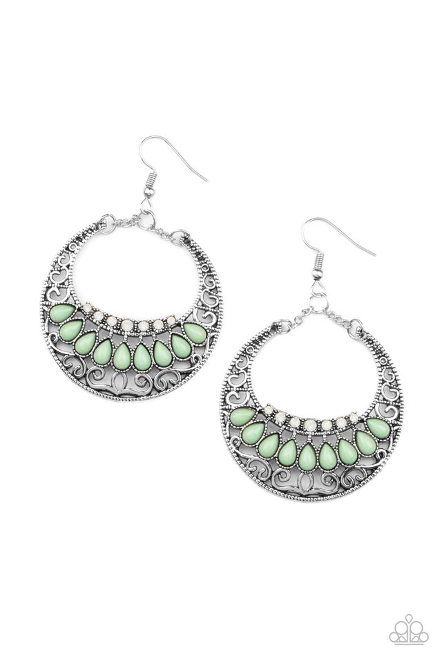 Crescent Couture - Green - Paparazzi Earring Image