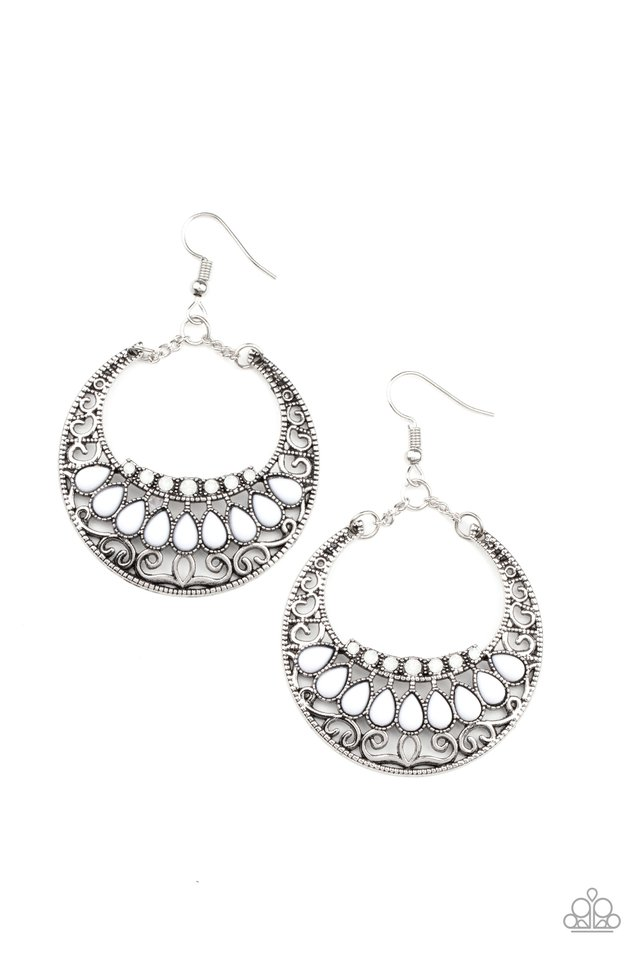 Crescent Couture - White - Paparazzi Earring Image