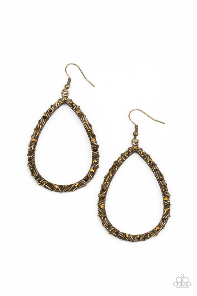 Standout Sparkle - Brass - Paparazzi Earring Image