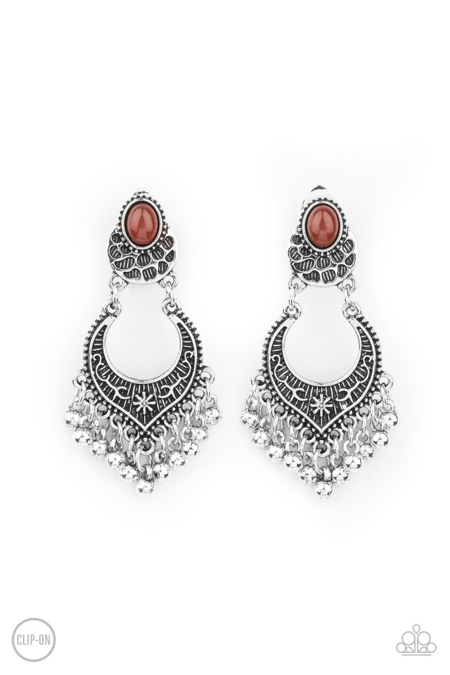 Summery Gardens - Brown - Paparazzi Earring Image