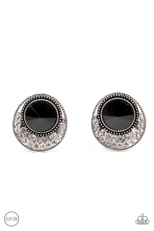 Off The RICHER-Scale - Black - Paparazzi Earring Image