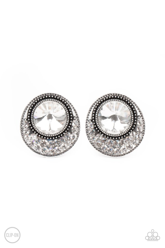 Off The RICHER-Scale - White - Paparazzi Earring Image