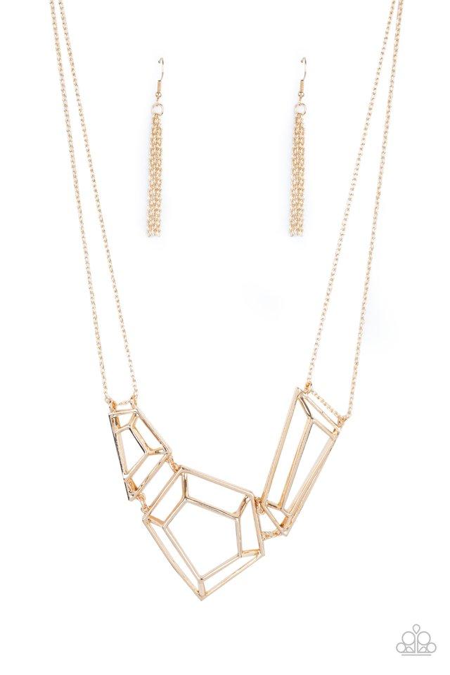 3-D Drama - Gold - Paparazzi Necklace Image