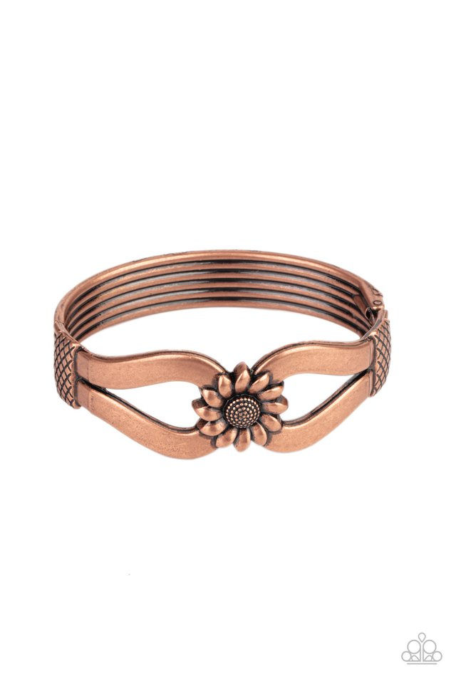 Let A Hundred SUNFLOWERS Bloom - Copper - Paparazzi Bracelet Image