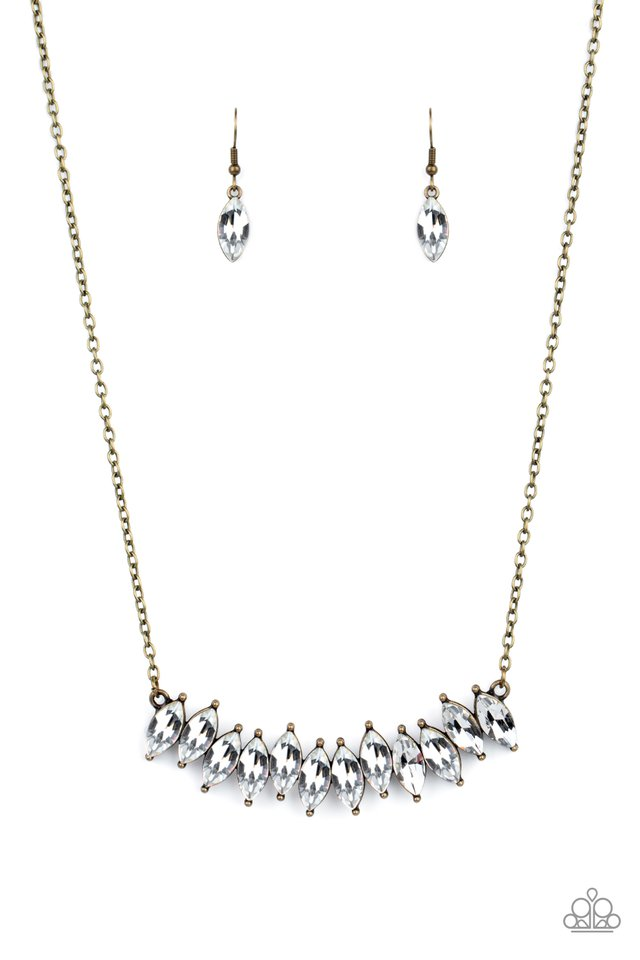Icy Intensity - Brass - Paparazzi Necklace Image